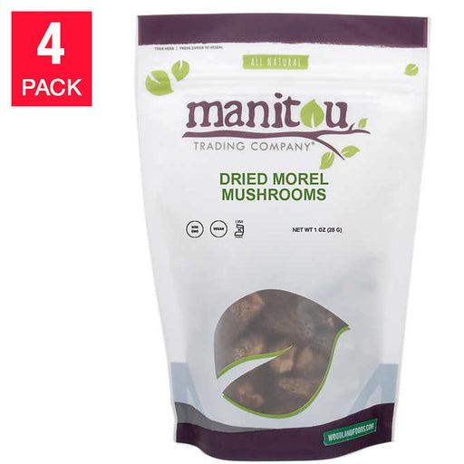 Manitou Dried Morel Mushrooms 1 oz, 4-pack