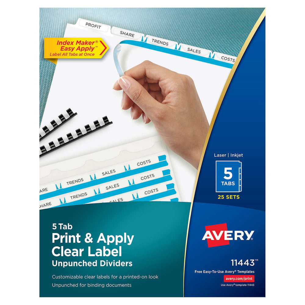 Avery Index Dividers for Laser Clear 5-Tab 25-Set AVE 11443