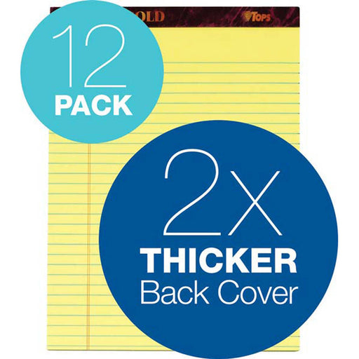 TOPS Docket Gold Legal Pad, 8-1/2 in. x 11-3/4 in., Canary, 12-count