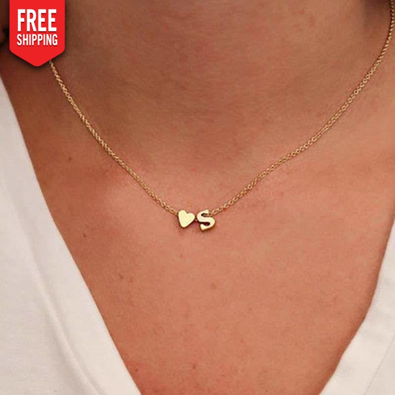 Necklace heart and initial name jewelry NAcloset