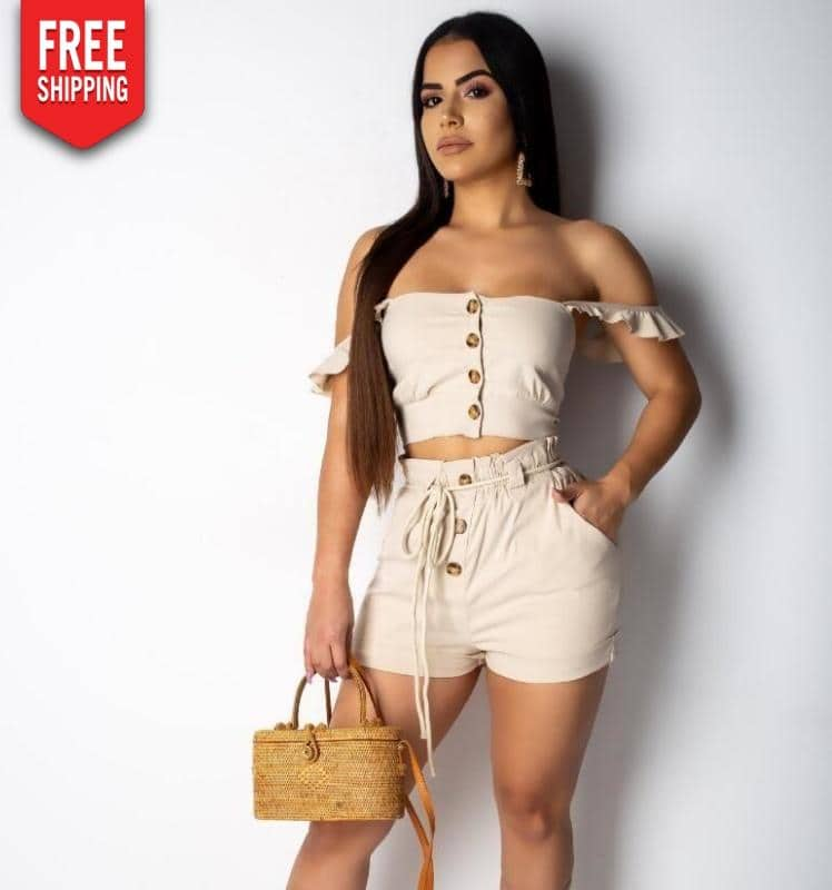 Lipãn Khaki Shorts and Wild Beige Top for Women NAcloset
