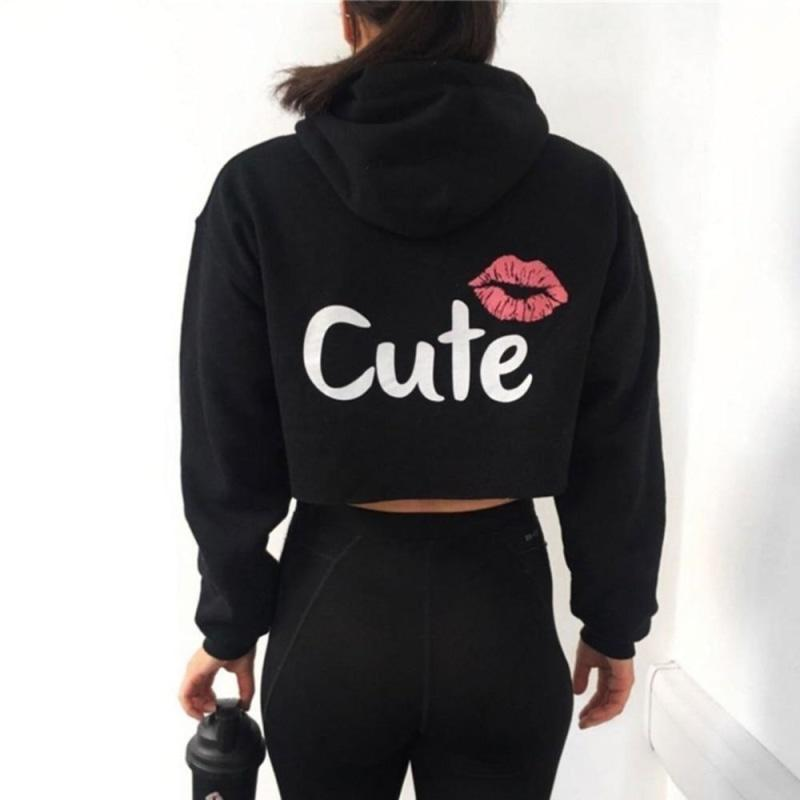 Cute Labios Long Sleeve Hooded Sweat for Women NAcloset