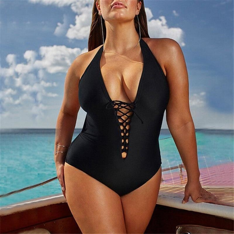 Black Plus Size Plus Size Black and White Crossed Neckline Bathing Suit for Women NAcloset