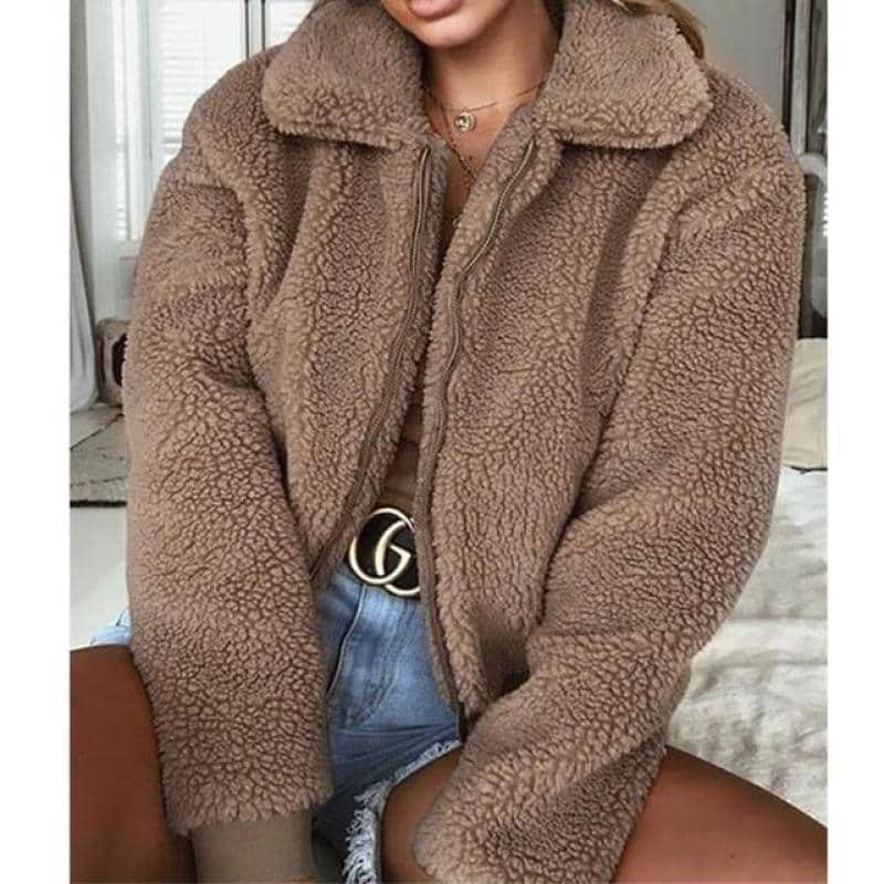 Hannah Artificial Fur Long Sleeve Jacket for Women NAcloset