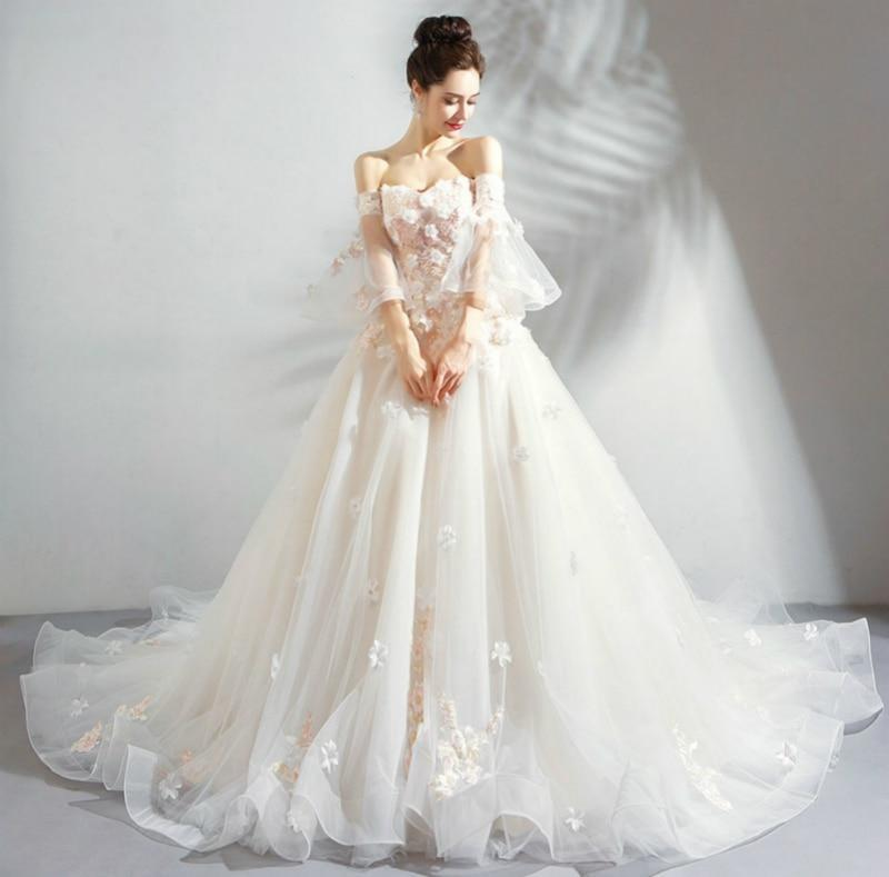 Andrina Floral Princess White Wedding Dress with Champagne NAcloset