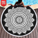 Black and White Abstract Tribal Flower Round Beach Towel NAcloset