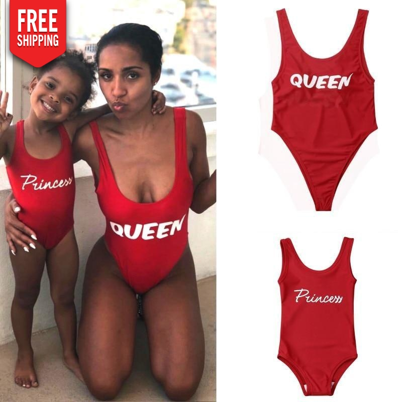 Queen and Princess Bathing Suit for Mother and Red Daughter of Summer