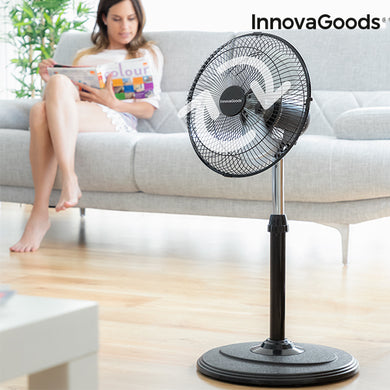 Oscillating Foot Fan 360º InnovaGoods Ø 30 cm 60W Black