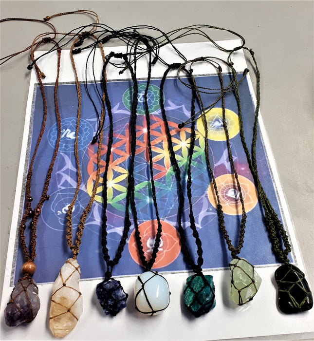 Assorted Macrame Netted Crystal Necklaces