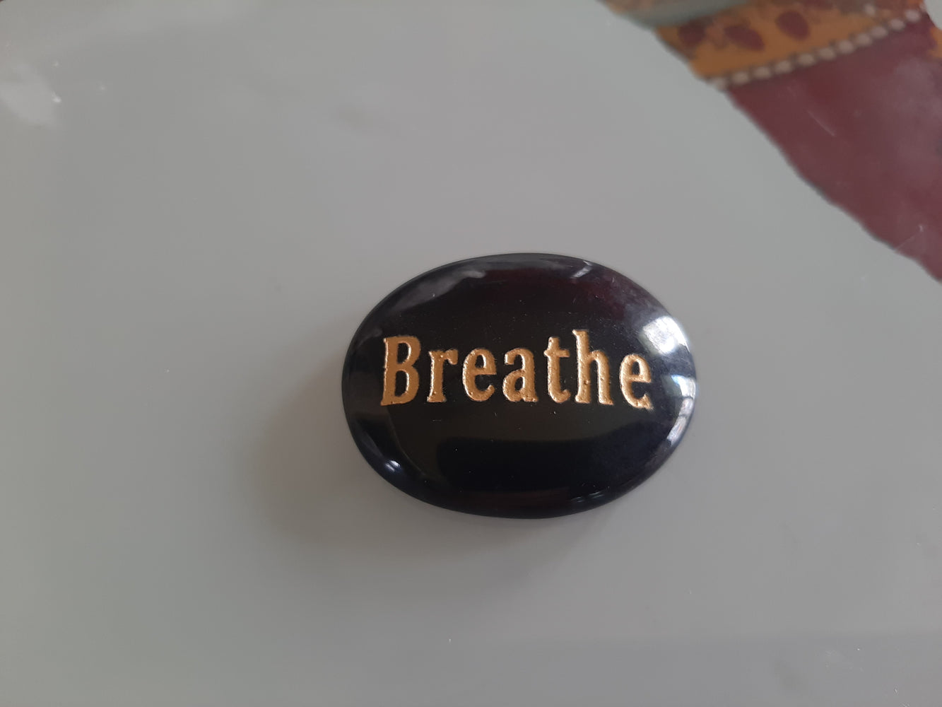 "Black Obsidian ""Breathe"" Worry Stone"