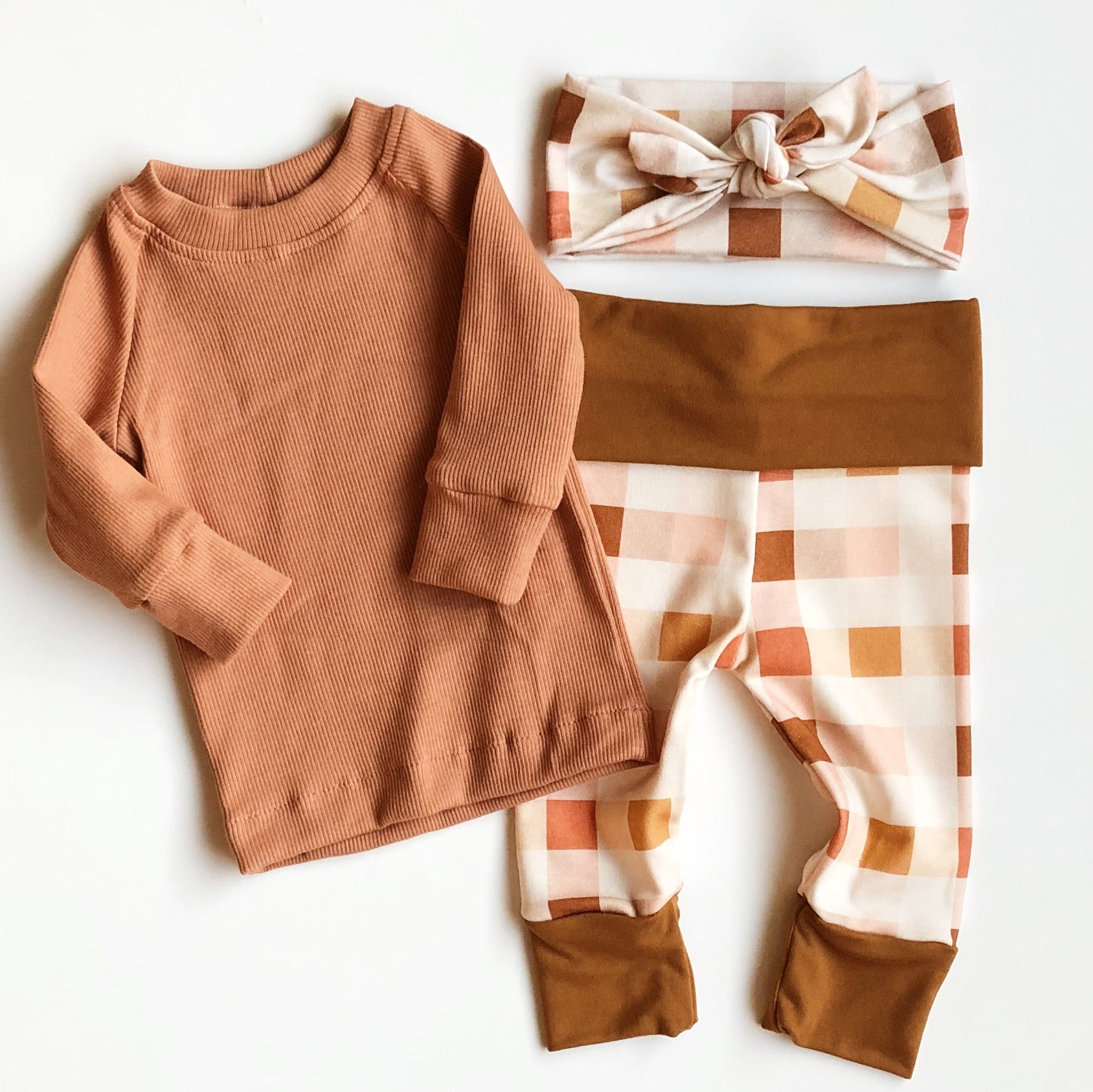ORGANIC Ribbed Knit Top OR Bottom SOLD SEPARATELY - Terra-Cotta