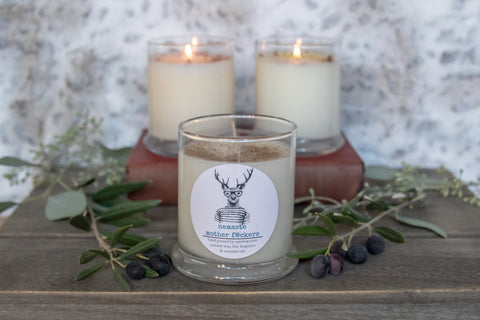 Namaste Mother F@ckers   12 ounce candle Snarky  deer