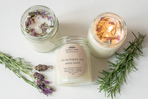 I'm so happy you were born lavender -rosemary  hand poured candle
