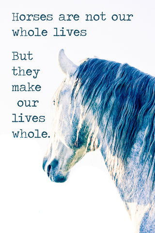 Horse are not our whole life, but they make our lives whole.