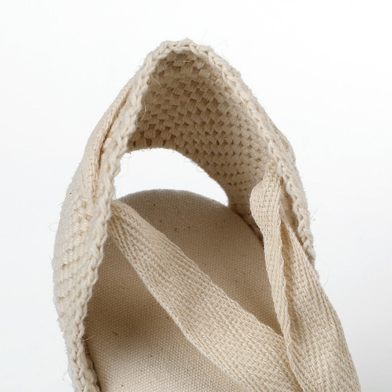 Soludos Factory lace espadrille wedge in white