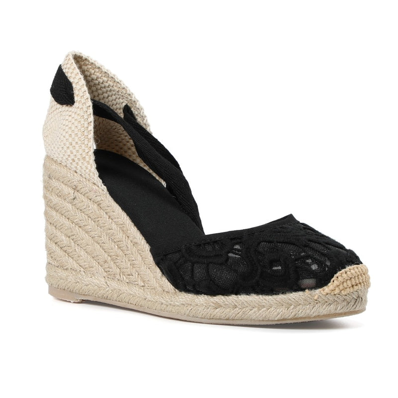 Soludos Factory lace espadrille wedge in black