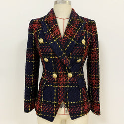 Tweed Gold Line Plaid Blazer