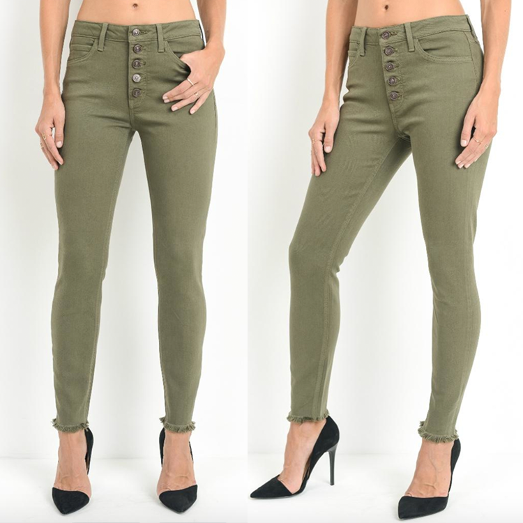 The Cassie Button Down Skinny Jeans [OLIVE]