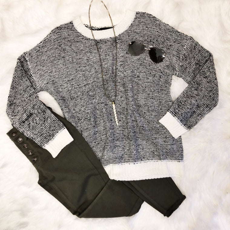 Black/White Heathered Sweater