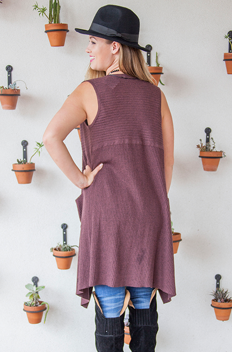 The Margo Sweater Vest [MARSALA]