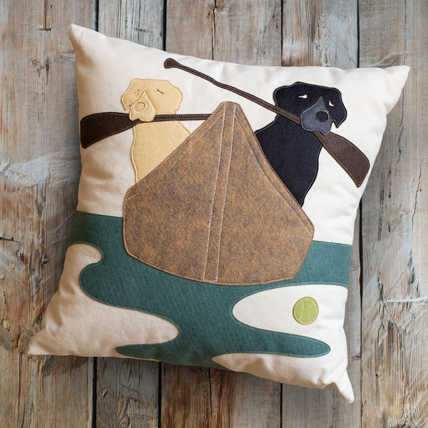 Labrador Pillow Labs in Canoe Boat on Wood Ron Schmidt
