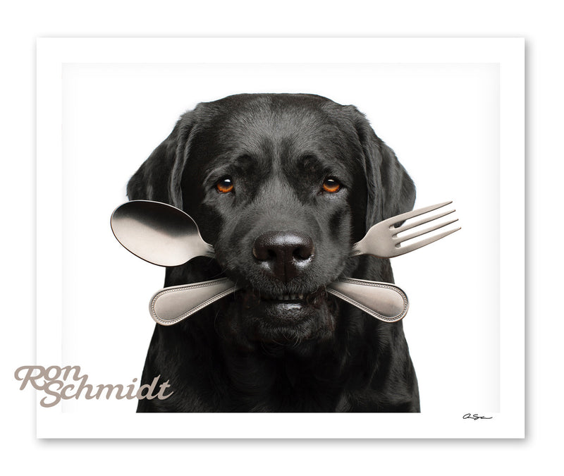 "Limited Edition Signed Print  - ""Bone Appetit"" Black Labrador Dog Art by Ron Schmidt"
