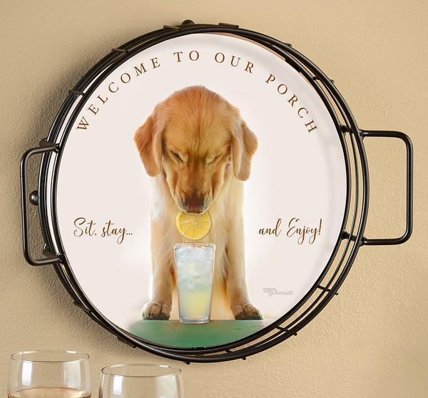 """Welcome to Our Porch"" Golden Retriever Serving Tray, Art by Ron Schmidt"