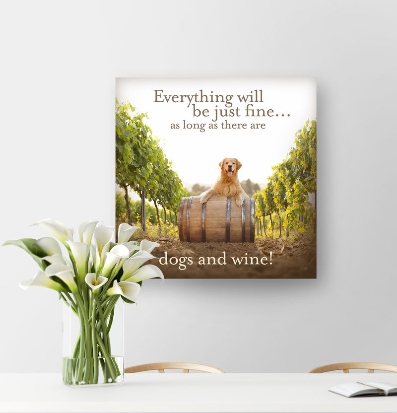 """Dogs and Wine"" Golden Retriever Canvas"