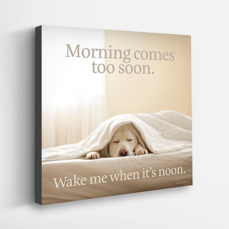 """Wake Me When It's Noon"" Canvas - Yellow Lab"