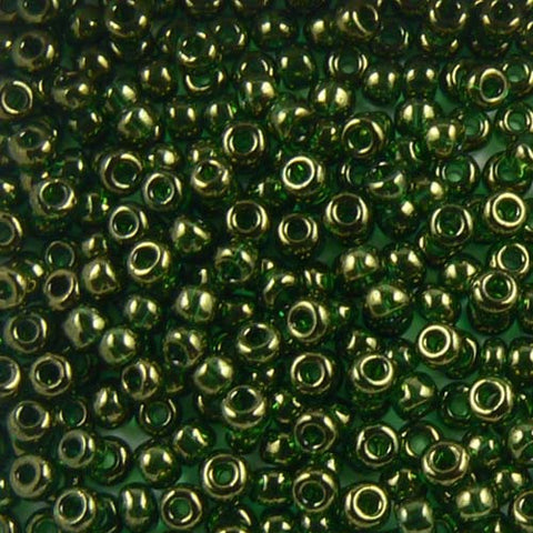 Green Gold Luster Seed Beads (Size 6)
