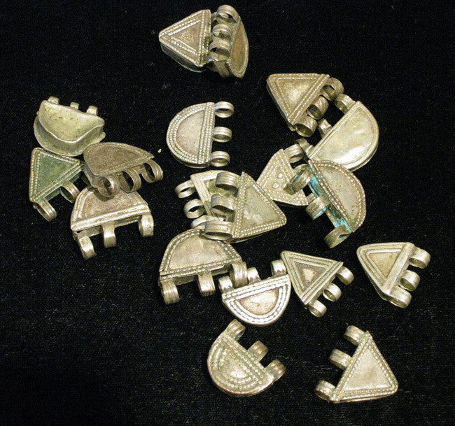 Antique Geometric Silver Beads