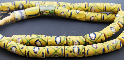 Yellow Criss-Cross Trade Beads
