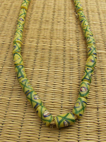 Yellow Trail Decorated Trade Beads