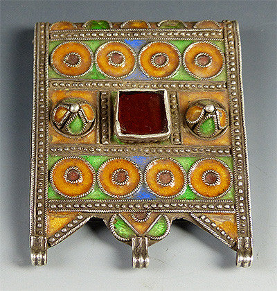 Medium Berber Silver and Enamel Pendant