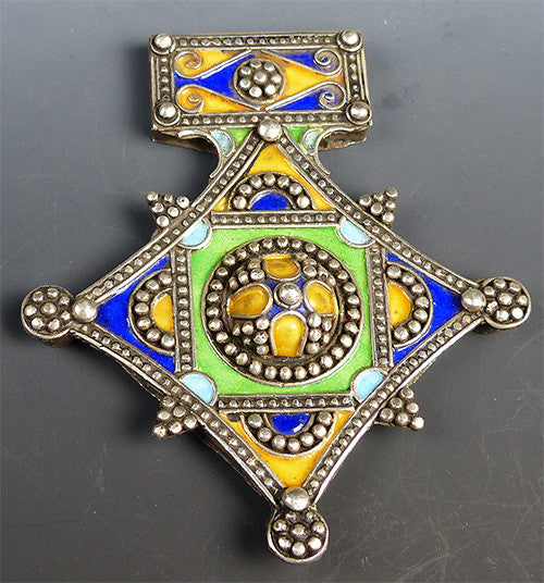 Large Vintage Silver Berber Cross
