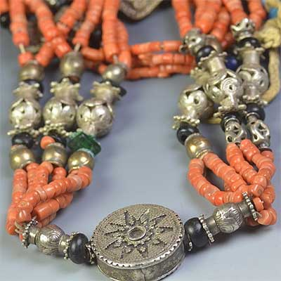 Coral, Shell and Silver Multi-strand Yemen Necklace