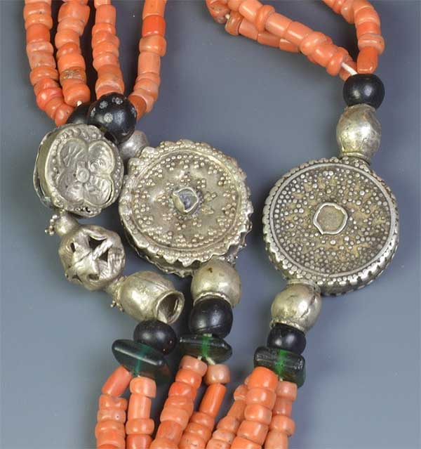Coral & Silver Multi-strand Yemen Necklace