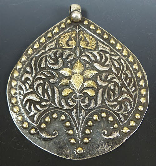Large Indian Silver and Gold Breastplate