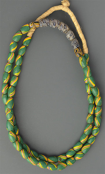 Massively Long Green Striped Trade Beads