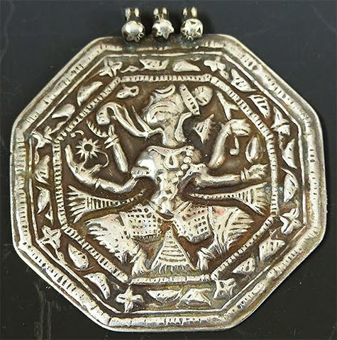 Octagon Indian Coin Silver Ganesh Pendant