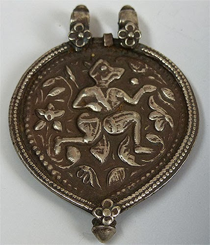 Large Sized Indian Coin Silver Hanuman Pendant