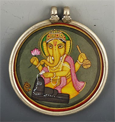 Painted Indian Scene Set in Sterling Silver #2