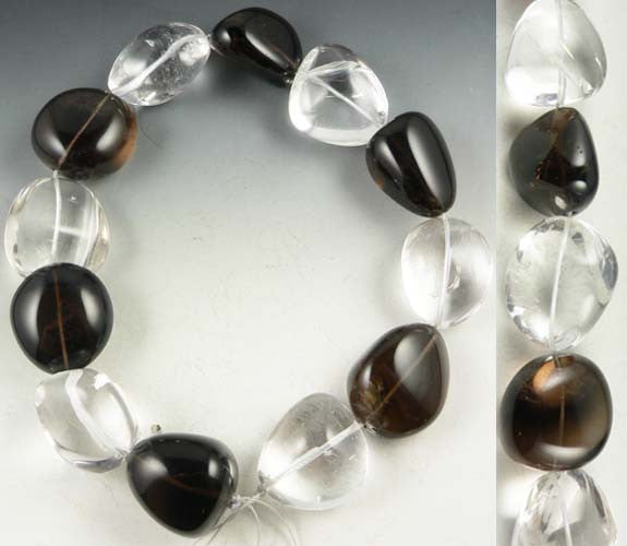 Large Quartz & Smoky Quartz Beads
