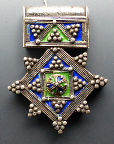 Vintage Berber Silver and Enamel Cross