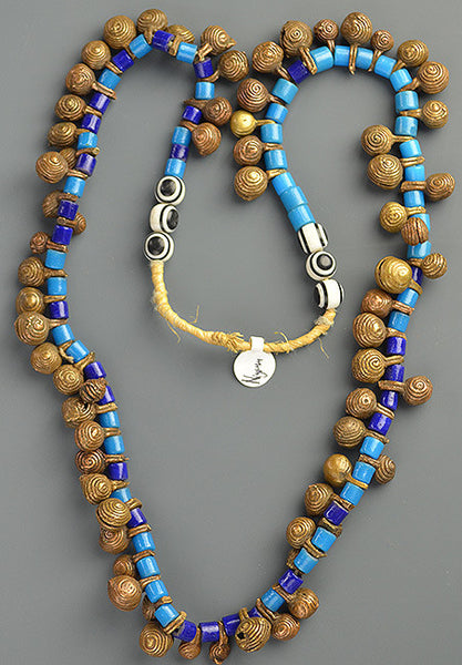 Nigerian Bell & Blue Tile Bead Necklace