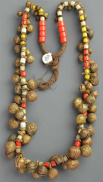 Nigerian Bell & Tile Bead Necklace