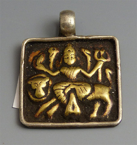 Indian Silver & Brass God Pendant