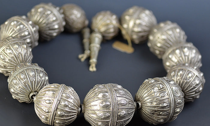 Unfinished Necklace of Large Yemen Silver Beads (All Signed)