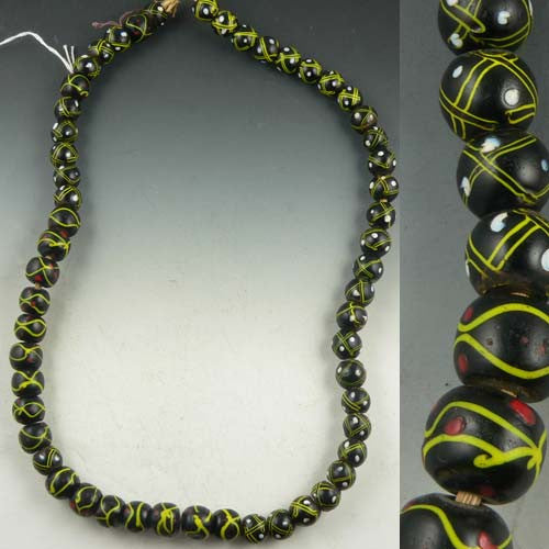 Green & Black African Trade Beads