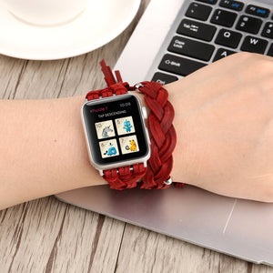 Etsy Handmade Woven Genuine Leather Women Loop Band for Apple Watch Strap 38mm 42mm 40mm 44mm for iWatch 1 2 3 4 Bracelet Belt